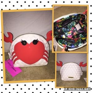 Betsey Johnson crabby heart cosmetic bag